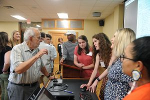 Lee Calhoun and students