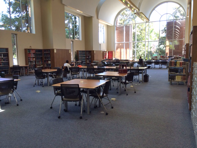 Students studying in the Davis reference room