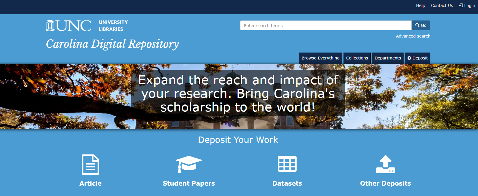 Screenshot of the Carolina Digital Repository homepage