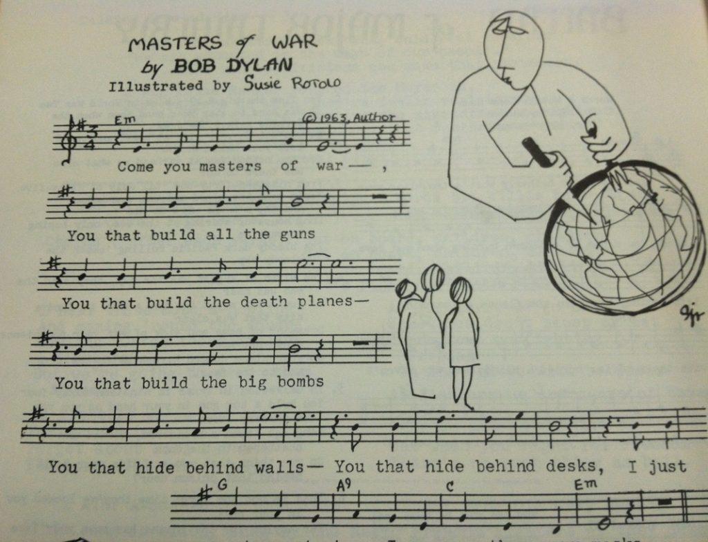 Bob Dylan's Masters of War sheet music