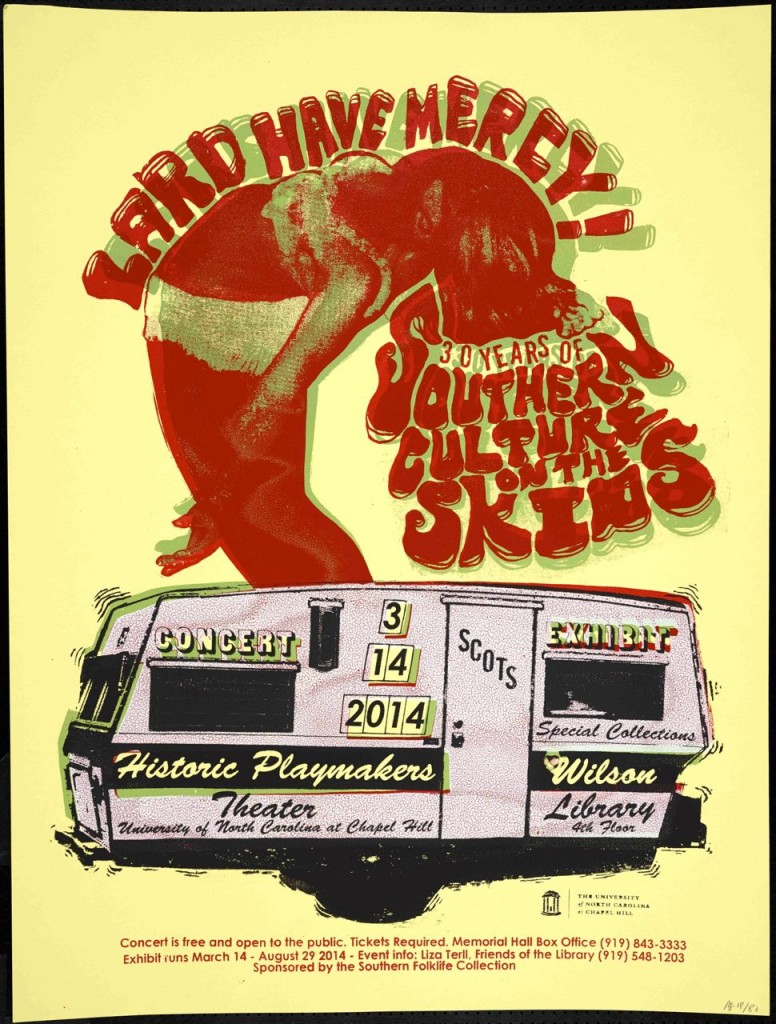 Concert/exhibition poster with illustration of woman dancing on top of an RV