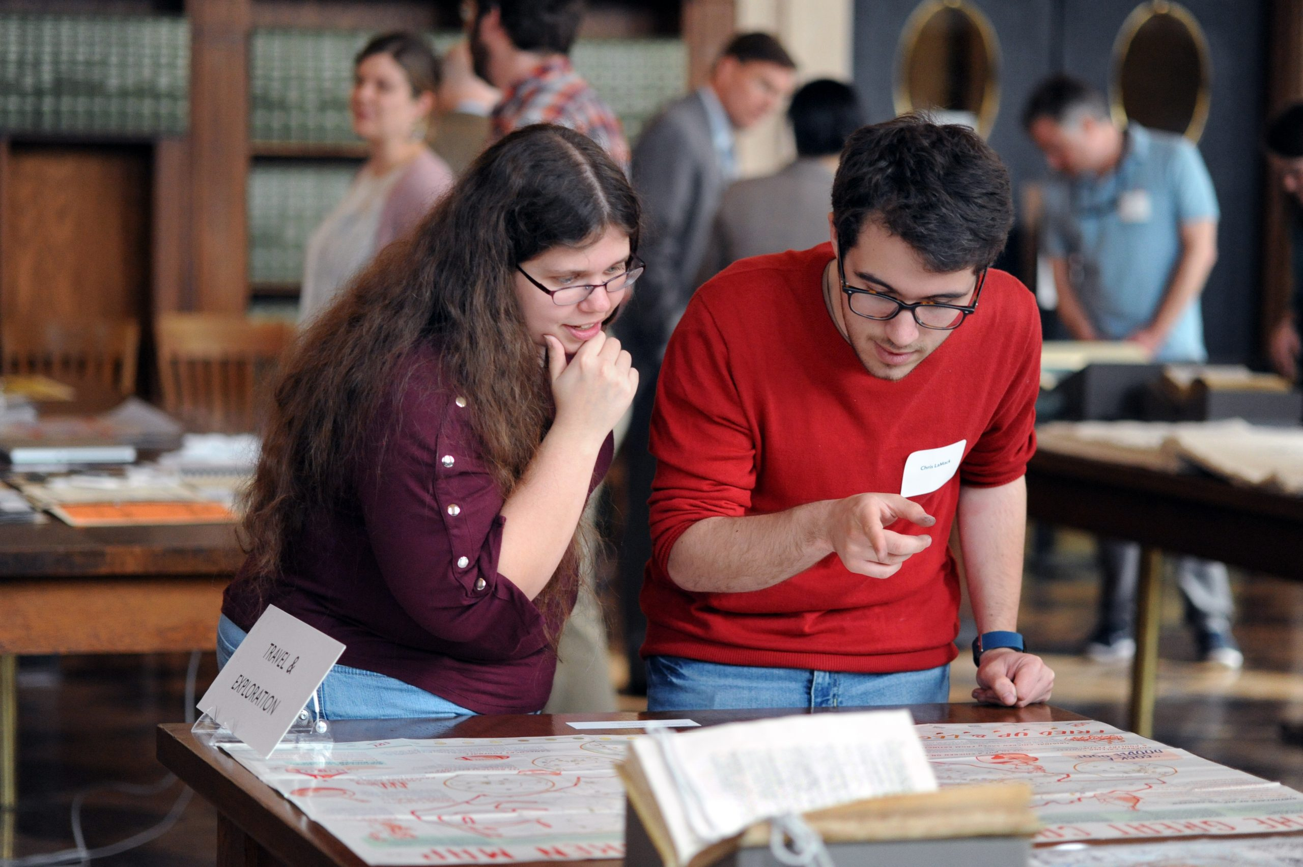 Student visitors examine The Great Carolina Fried Chicken Map