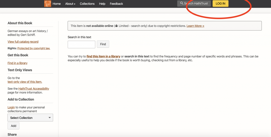 screenshot of Hathi Trust page