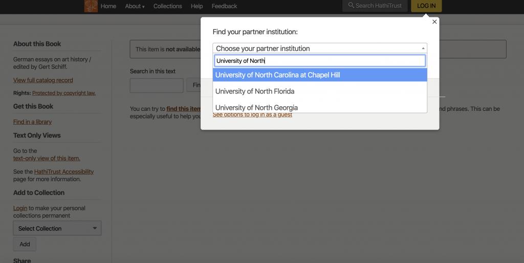 screenshot of choosing partner institution on Hathi Trust login screen