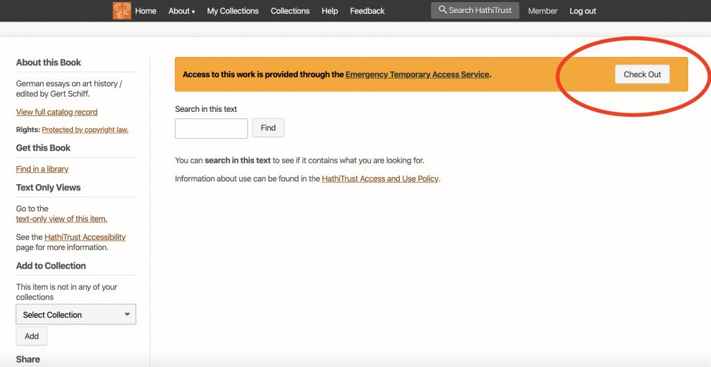 screenshot of logged in Hathi Trust account