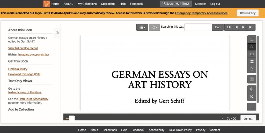 screenshot of an e-book open on Hathi Trust
