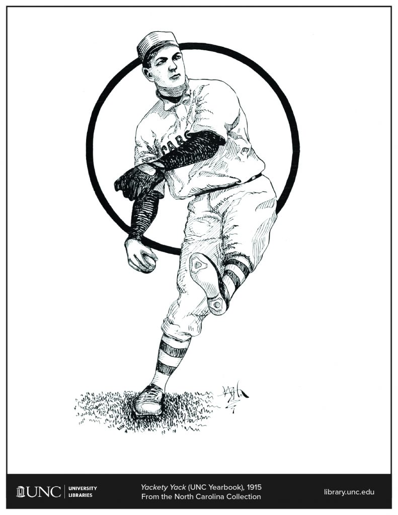 Coloring page of an illustration of a baseball player