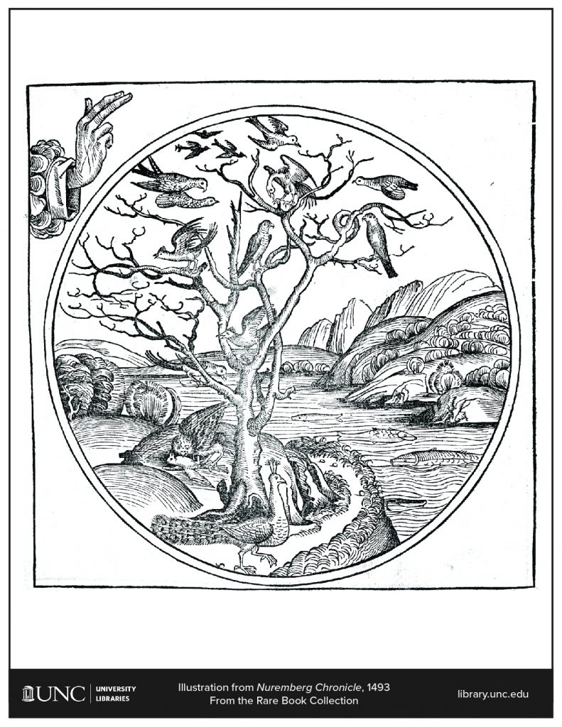 Coloring page of an illustration from the Nuremberg Chronicle
