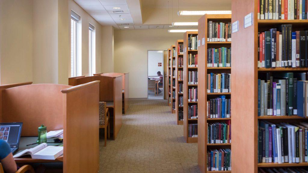 Stone center library interior