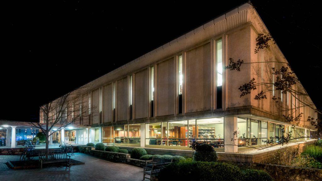 undergraduate library exterior at night