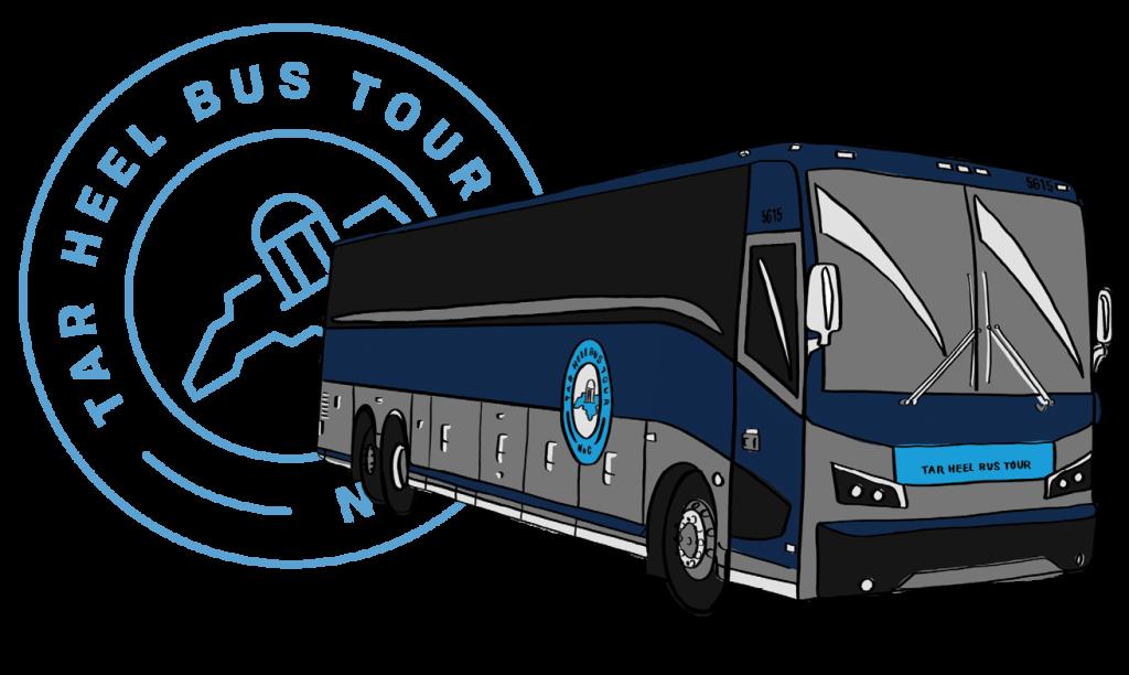 Illustration of a Tar Heel Bus Tour bus and the Tar Heel Bus Tour logo