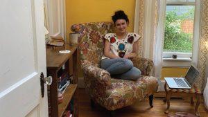 Librarian Sarah Morris at home