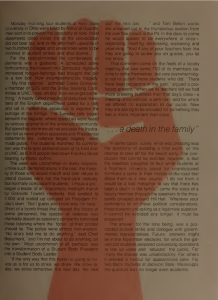 yearbook page, text overlaid with a red raised fist