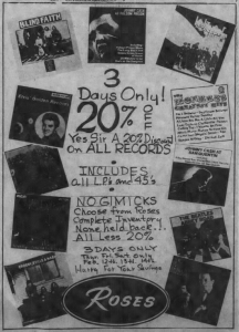 Record store ad from The Daily Tar Heel, February 12, 1970. Roses: 3 days only! 20% off all records