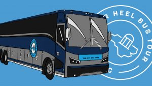 Illustration of one of the Tar Heel Bus Tour buses and Tar Heel Bus Tour logo