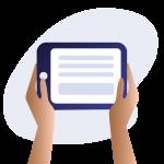 Illustration of hands holding an e-reader