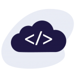 Illustration of a cloud with code brackets inside