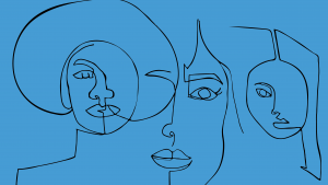 Abstract line illustration of women