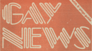 """newspaper clipping that is a peach color with the words, """"Gay News, with a 4-page guide"""""""