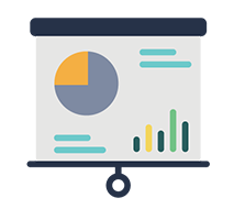 presentation screen with icons of charts and graphs