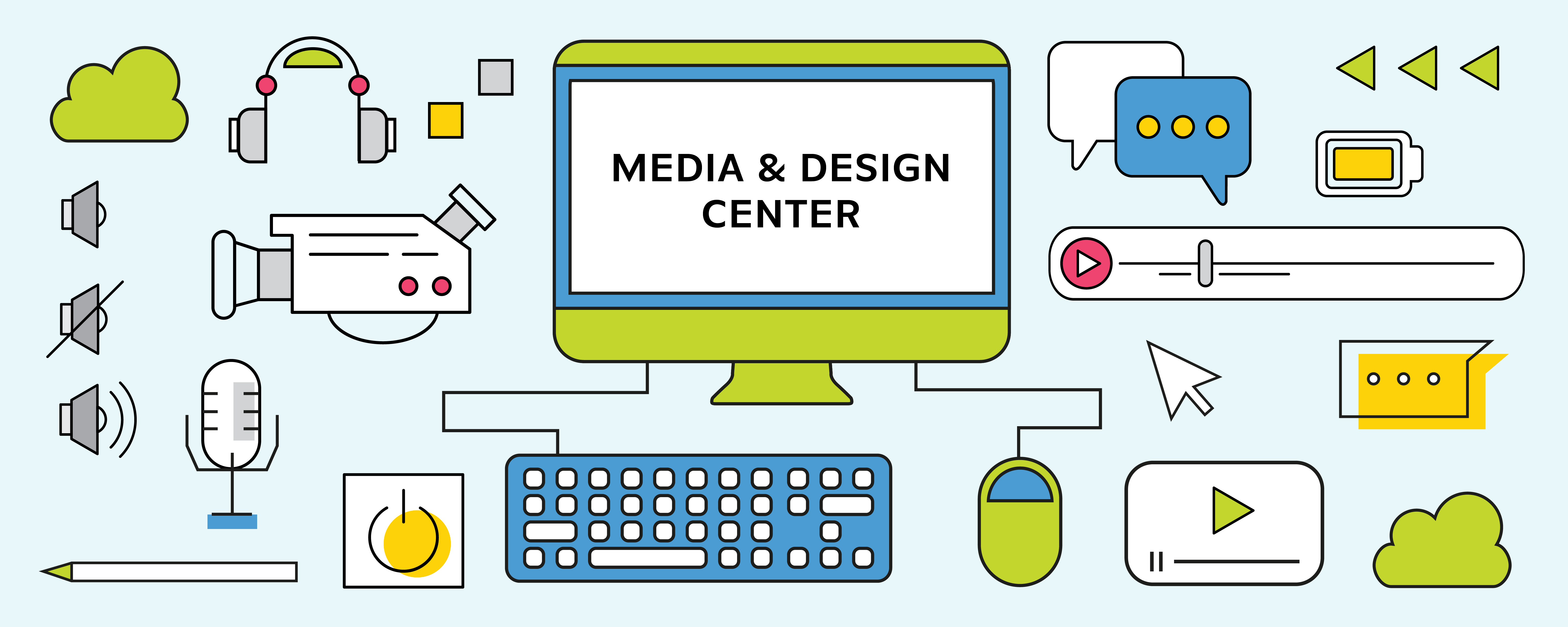 Computer screen displays Media & Design Center. Computer is surrounded by digital media icons and equipment.