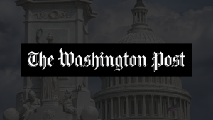 The Washington Post logo laid over a dark image of the top of the US Capitol building