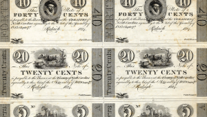 Detail of proof sheet of North Carolina treasury notes, 1824