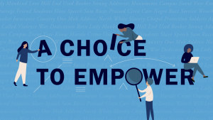 """""""A Choice To Empower"""" text with illustrations of women sitting on the text"""