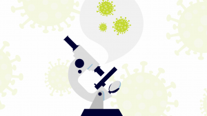 illustration of a microscope and virus cells