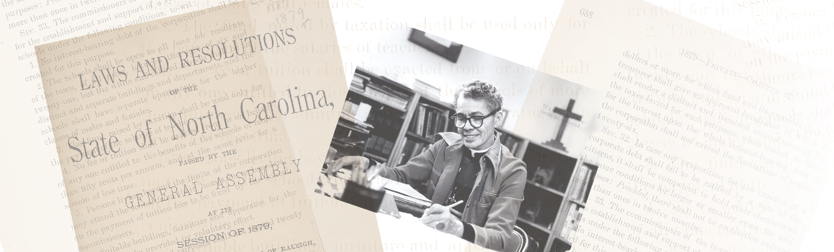 archival pages of text laws from North Carolina General Assembly and a photo of Pauli Murray