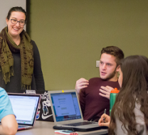 students working in the Davis Library Research Hub