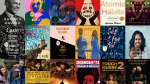 collage of 18 book covers and movie posters