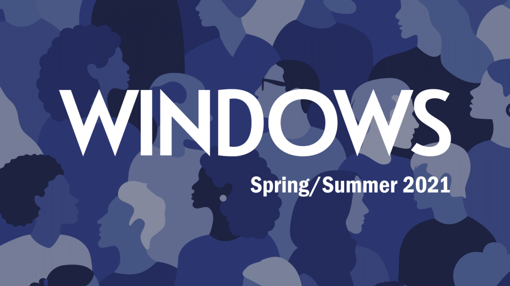 white text on background of blue people's profiles that says: Windows Spring/Summer 2021