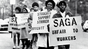 archival black and white photograph of women protesting during the UNC Foodworkers Strike