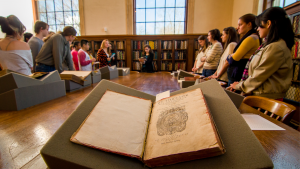 librarian teaching students to work with special collections materials