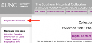 """Red arrow pointing to """"Request this Collection"""" button on an online finding aid"""