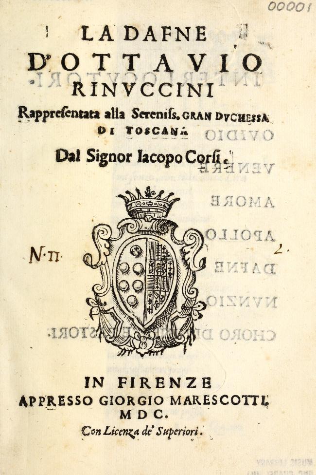 Title page of libretto: La Dafne D'Ottavio Rinuccini, 1600