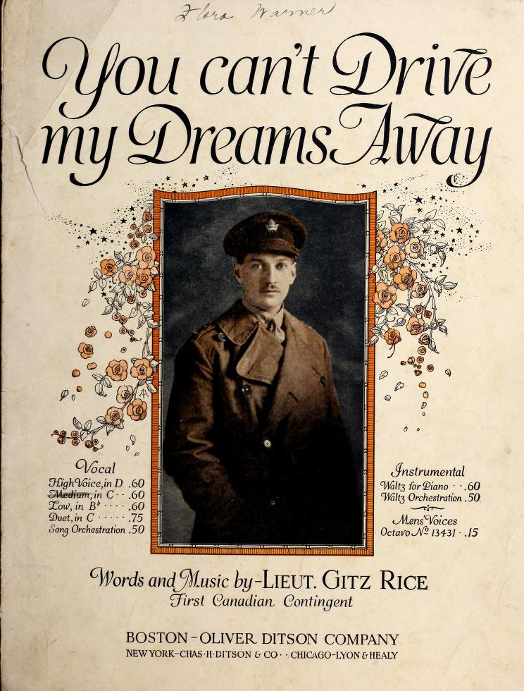 Cover of sheet music: You Can't Drive my Dreams Away, words and music by Lieut. Gitz Rice